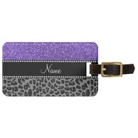 Personalized name purple glitter black leopard