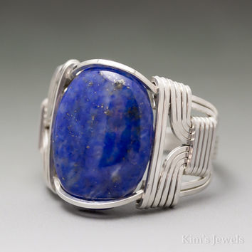 Lapis Lazuli Sterling Silver Wire Wrapped Cabochon Ring