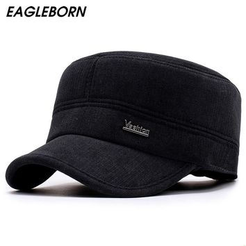 EAGLEBORN New Winter Hats for Men Military Cap with Ear Flaps Army Sailor Captain Caps Dad Hat