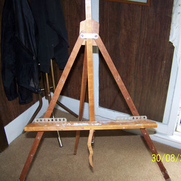 Artists Portable Wooden Painters Floor Easel Vintage Artwork Display