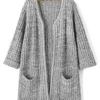 Gray Collarless Pocket Design Knitted Cardigan