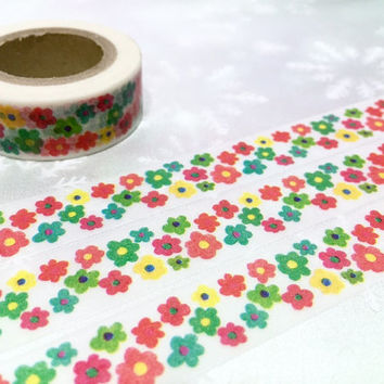 10M flower pattern washi tape little Sun flower red yellow green sunflower masking tape blossom flower sticker tape flower diary decor gift
