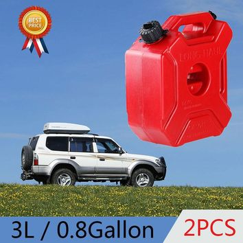2pcs 3L 0.8 Gallon Gasoline Tank Red Jerrycan Fuel Cans Strong Motorcycle Oil Fuel New 3L 0.8 Gallon Gasoline Tank