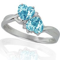 10k White Gold Blue Topaz and Diamond Heart Ring (0.02 cttw, I-J Color, I1 Clarity)