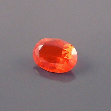 Fire Opal: 0.92ct Red Orange Oval Shape Gemstone, Loose Natural Hand Made Mexican Faceted Precious Gem, OOAK Cut Crystal Jewelry Supply O28