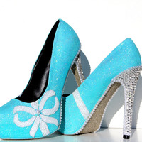 Tiffany Blue Glitter Heels with Pearls