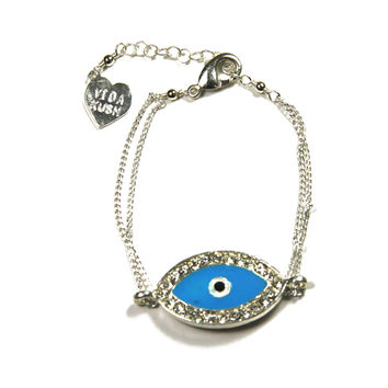 Crystal Evil Eye Chain Bracelet