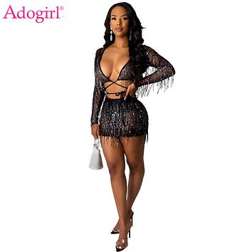 Adogirl Sequined Tassel Sheer Mesh Two Piece Set Women Sexy Night Club Party Suit Lace Up V Neck Long Sleeve Crop Top Mini Skirt