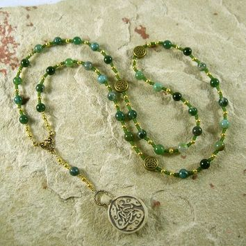 Frey Prayer Bead Necklace in Moss Agate: Norse God of Fertility, Abundance, Prosperity
