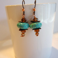 Turquoise, Copper and Czech Glass Earrings