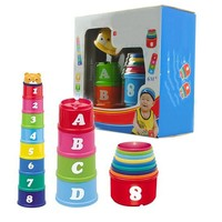 Kids Educational Toys The PuzzleChildren's Numbers and Alphabet Stacked Cup Puzzle Kit Toys Puzzle Preschool Children Kids Toy