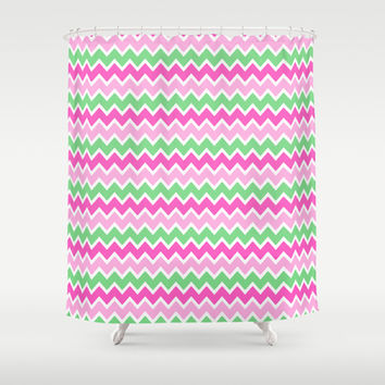 Green Pink Ombre Chevron Shower Curtain by decampstudios