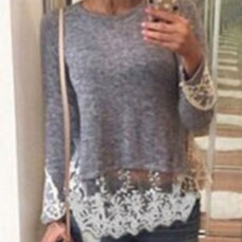 Gray Long Sleeve Lace T-Shirt