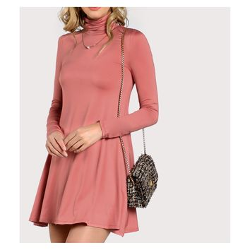Rusty Pink High Neck Long Sleeve Flowy Dress