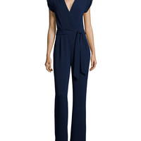 Purdy Cap-Sleeve Crepe Jumpsuit, Navy, Size: