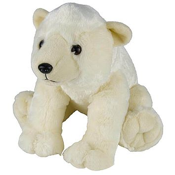 "13"" Polar Bear Stuffed Animal Plush Floppy Zoo Species Collection"
