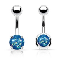 BodyJ4You Created-Opal Navel RIng Belly Button Rings 2 Pack Set Blue Fire Belly Bar
