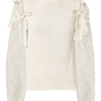 Lace Tie Sleeve Sweater