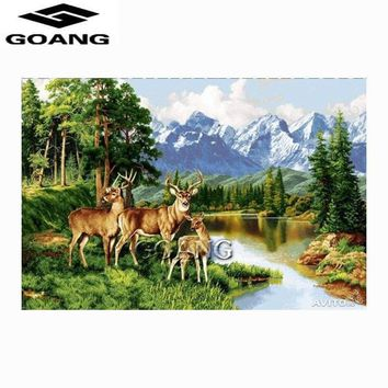 5D Diamond Painting Deer Family by the Mountain Stream Kit