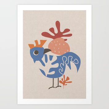 Wondering Rooster Art Print by mirimo