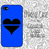 Thin Blue Line Heart Apple iPhone 4 and 5 Hard Plastic or Rubber Phone Case Cover Original Design