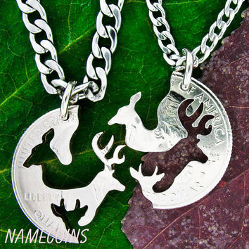 Buck and Doe and Fawn Necklace, With Baby Spike deer, with STAINLESS STEEL CHAINS, Interlocking Love Quarter, hand cut coin