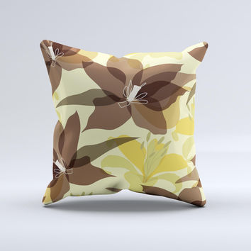 Yellow and Brown Pastel Flowers ink-Fuzed Decorative Throw Pillow