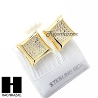 Iced Out Sterling Silver .925 Lab Diamond 11mm Square Screw Back Earring SE002G