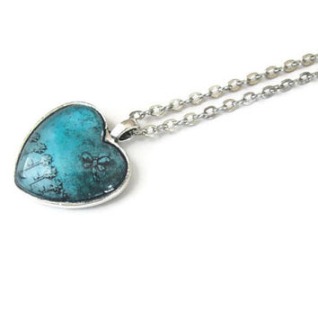 Heart necklace pendant with dragonfly and flowers in teal, hand made jewelry glass dome pendant art jewelry, antique silver tone finish