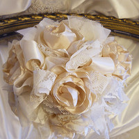 Cake Topper, handmade of beige champagne colored silk fabric flowers, ivory lace, satin and sheer.