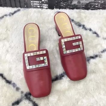 GUCCI Tide brand diamond buckle female models high-heeled Baotou thick with single shoes red