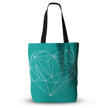"Mareike Boehmer ""Heart Graphic Turquoise"" Teal Abstract Everything Tote Bag"