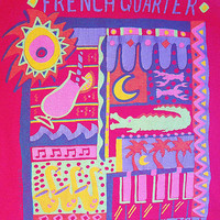 Vintage '89 FRENCH QUARTER New Orleans Mardi Gras Tourist Souvenir Fruit of the Loom T Shirt sz XL
