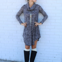 Gray Cowl Neck  Knit Dress