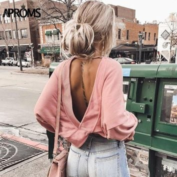 Aproms Solid Color Long Sleeve T-Shirt Women Fashion 2018 Backless Criss Cross Loose T Shirt Autumn Streetwear Casual Tops Tee