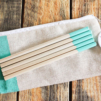 Pantone Paint Dipped Natural Wood Pencils - 5 piece set in canvas zipper pouch - Pool Green - Perfect for wedding or party favors