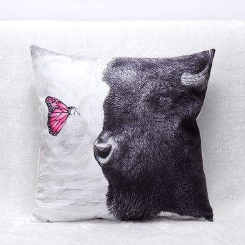 3D Decorative Butterfly Bull Cotton Pillow Covers Luxury Home Seat Chair Bed Throw Pillow Case