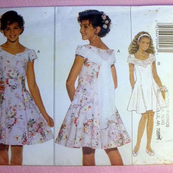 Girls' Special Occasion Dress Girl's Size 7, 8, 10 Butterick 3866 Sewing Pattern Uncut