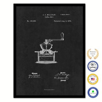 1870 Coffee Mill Grinder Vintage Patent Artwork Black Framed Canvas Home Office Decor Great for Coffee Spice Lover Cafe Shop