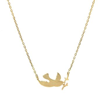 Handcrafted Brushed Metal Swallow Bird Necklace