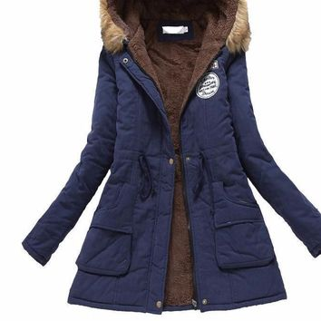 Elegant military cotton hooded jacket