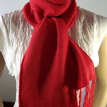 Knitted Scarf Chunky Knitted Orange Ascot Neck Warmer Women long Scarf Fashion Accessorie