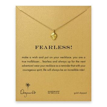fearless! flower skull necklace, gold dipped