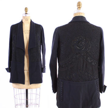 EDWARDIAN Wool JACKET / Vintage 1910s Deep Navy Wool Soutache Embroidered Button Trim Mid-Weight Coat