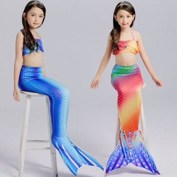 DCCKH6B 2017 Newest Lovely Princess Children Baby Girls Mermaid Tail Bath Split Swimsuit Costume Swimsuit Bikini Set Dress for 3-10Y