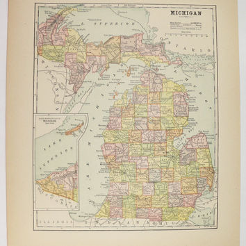 Michigan Map Upper Peninsula Map UP, Antique MI Map 1896 Vintage Map of Michigan, Gift for Guy, Office Art Gift for Coworker, Old Color Map