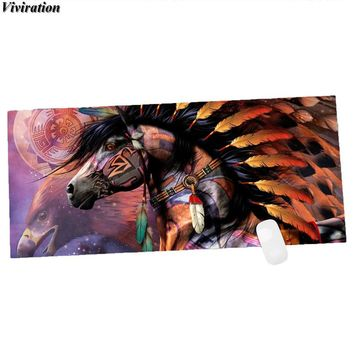 Unique Indian Horse Picture Viviration Rubber Anti-Slip Large Size Mouse Pad Mens Boys Gaming Keyboard Table Mat For CF/WOW CSGO