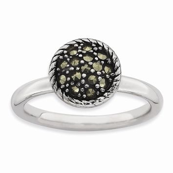 Sterling Silver Stackable Expressions Marcasite Ring