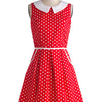 ModCloth Vintage Inspired Mid-length Sleeveless A-line All Eyes on Unique Dress in Dotty