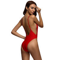 Red Bodysuit Sexy High Cut One Piece Swimsuit Backless Swimwear Women Bathing Suit Beachwear Bather Monokini